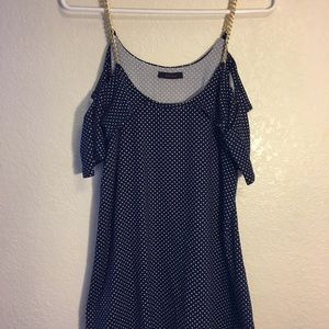 Blue top with polka dots and chain straps